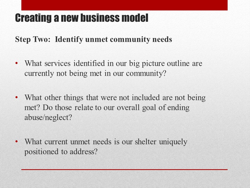 Creating a new business model Step Two: Identify unmet community needs What services identified in our big picture outline are currently not being met