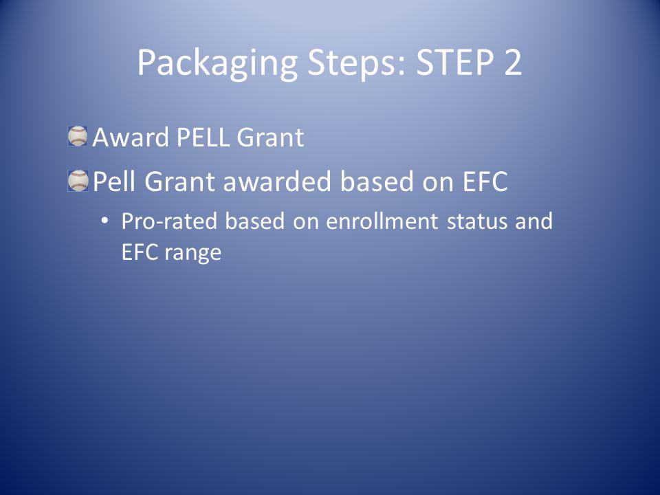 Packaging Steps: STEP 2 Award PELL Grant Pell Grant awarded based on EFC Pro-rated based on enrollment status and EFC range