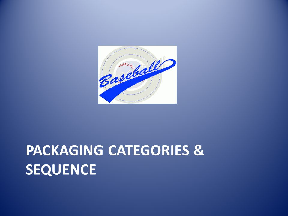 PACKAGING CATEGORIES & SEQUENCE