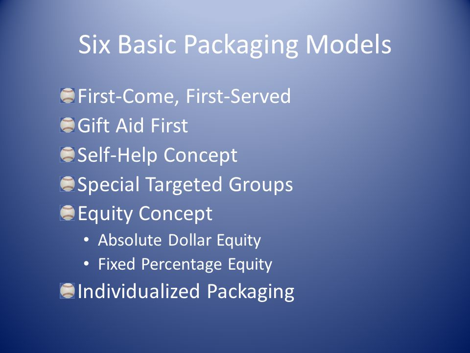 Six Basic Packaging Models First-Come, First-Served Gift Aid First Self-Help Concept Special Targeted Groups Equity Concept Absolute Dollar Equity Fixed Percentage Equity Individualized Packaging