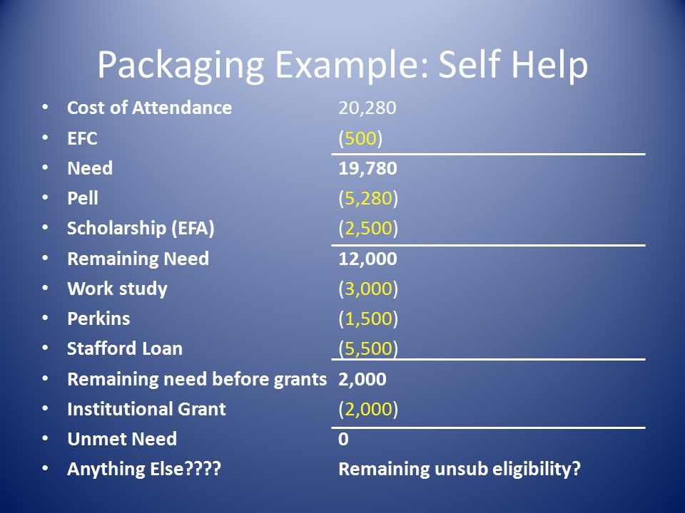 Packaging Example: Self Help Cost of Attendance EFC Need Pell Scholarship (EFA) Remaining Need Work study Perkins Stafford Loan Remaining need before grants Institutional Grant Unmet Need Anything Else .