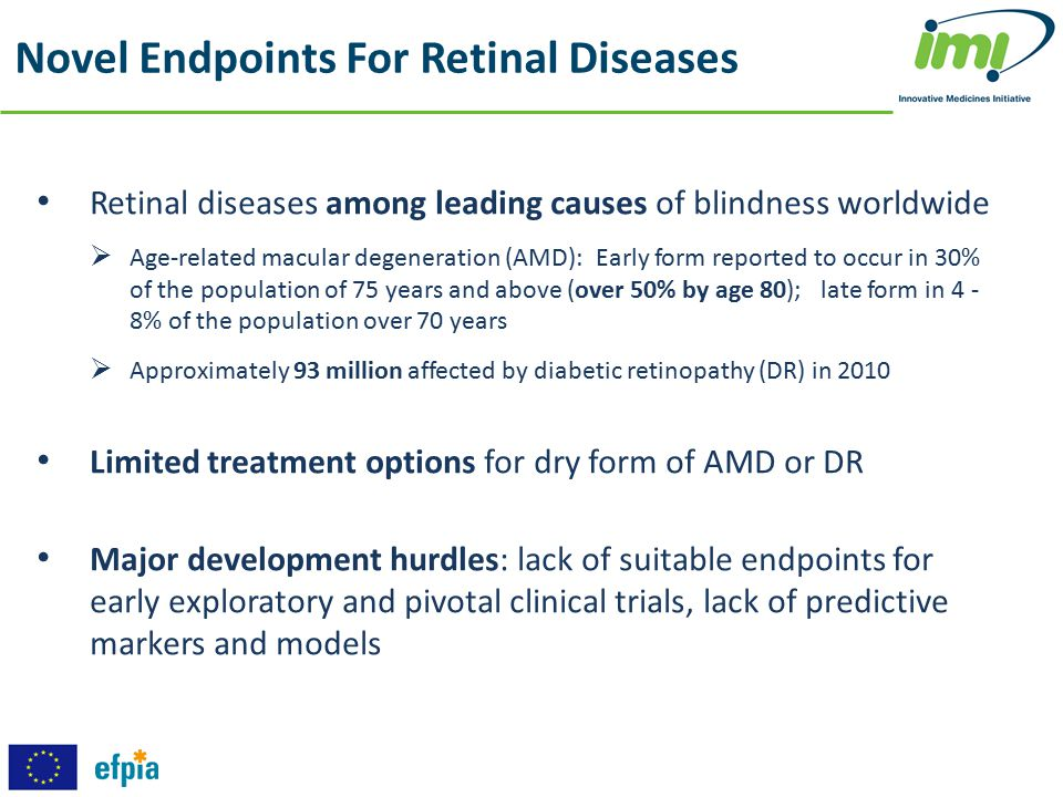 Retinal diseases among leading causes of blindness worldwide  Age-related macular degeneration (AMD): Early form reported to occur in 30% of the popu