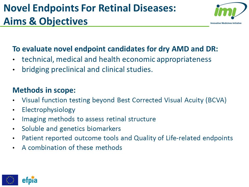 To evaluate novel endpoint candidates for dry AMD and DR: technical, medical and health economic appropriateness bridging preclinical and clinical stu