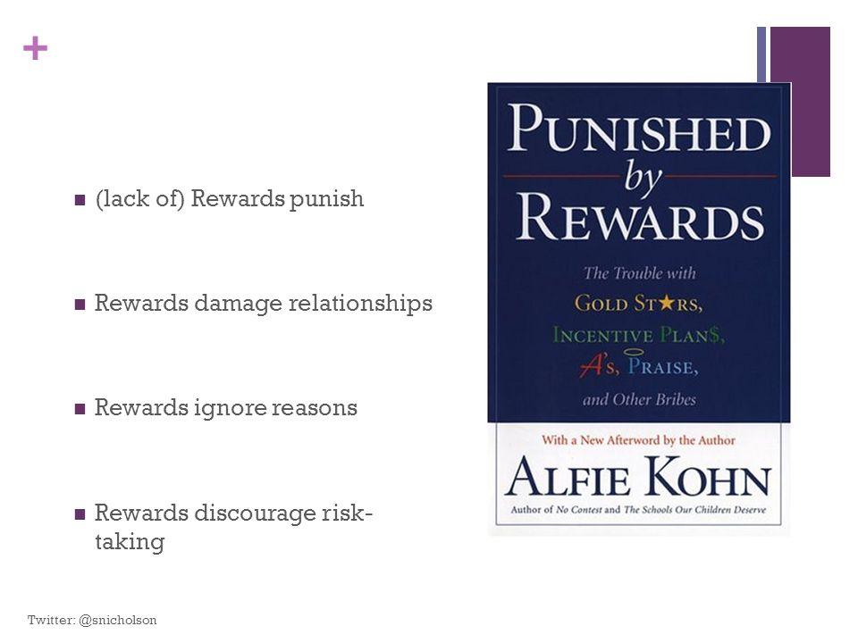 + (lack of) Rewards punish Rewards damage relationships Rewards ignore reasons Rewards discourage risk- taking Twitter: @snicholson