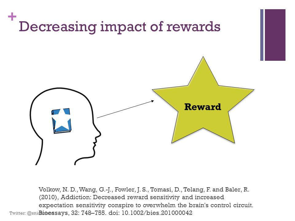 + Decreasing impact of rewards Volkow, N. D., Wang, G.-J., Fowler, J. S., Tomasi, D., Telang, F. and Baler, R. (2010), Addiction: Decreased reward sen