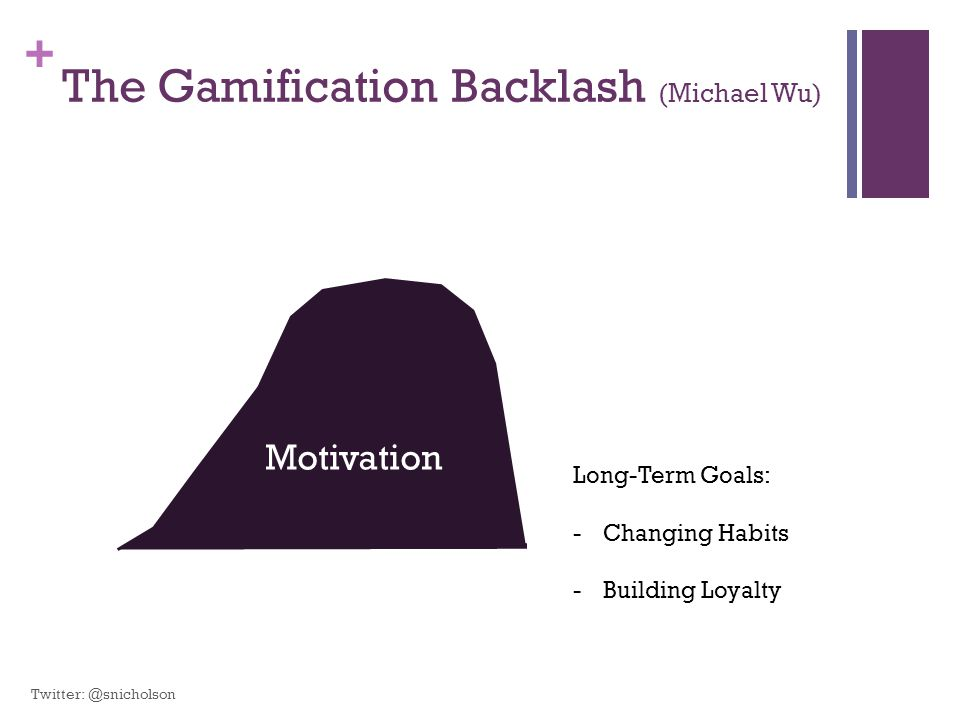 + The Gamification Backlash (Michael Wu) Motivation Long-Term Goals: -Changing Habits -Building Loyalty Twitter: @snicholson