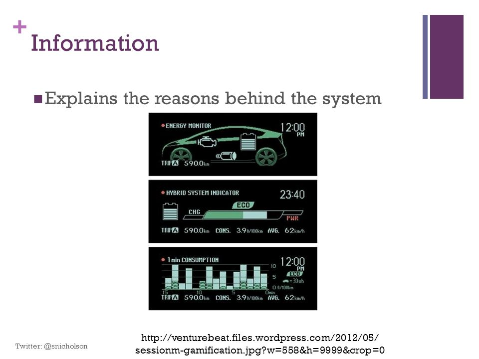 + Information Explains the reasons behind the system http://venturebeat.files.wordpress.com/2012/05/ sessionm-gamification.jpg?w=558&h=9999&crop=0 Twi
