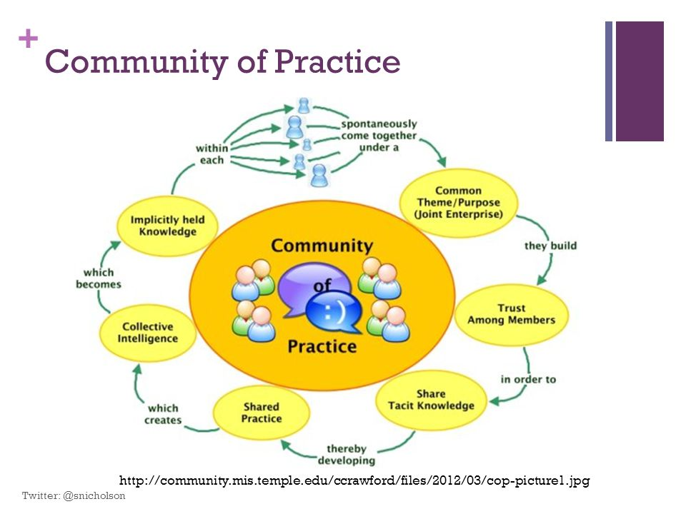 + Community of Practice http://community.mis.temple.edu/ccrawford/files/2012/03/cop-picture1.jpg Twitter: @snicholson