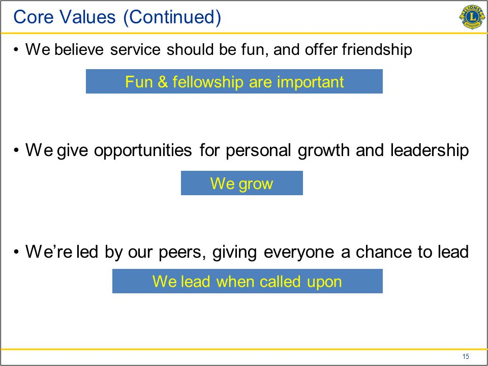 15 Core Values (Continued) We believe service should be fun, and offer friendship We give opportunities for personal growth and leadership We're led by our peers, giving everyone a chance to lead Fun & fellowship are important We grow We lead when called upon
