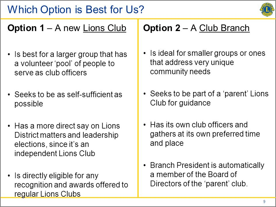 9 Which Option is Best for Us.