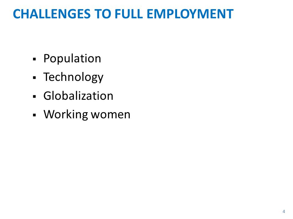 CHALLENGES TO FULL EMPLOYMENT  Population  Technology  Globalization  Working women 4
