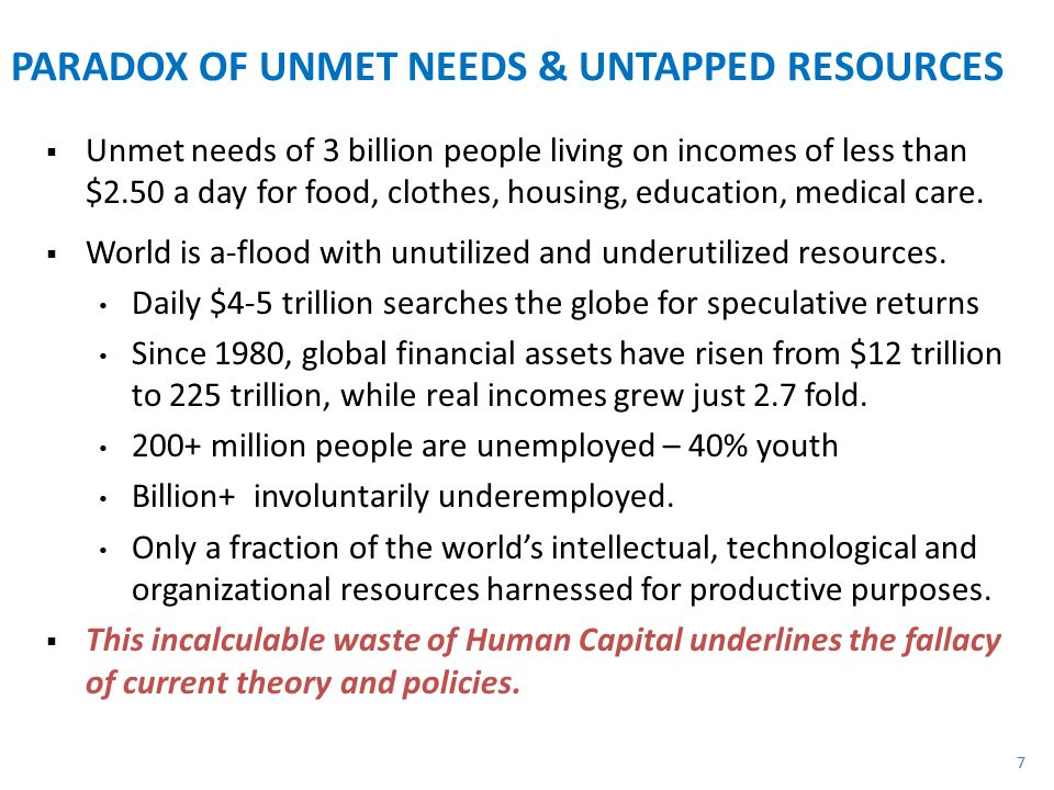 PARADOX OF UNMET NEEDS & UNTAPPED RESOURCES  Unmet needs of 3 billion people living on incomes of less than $2.50 a day for food, clothes, housing, education, medical care.
