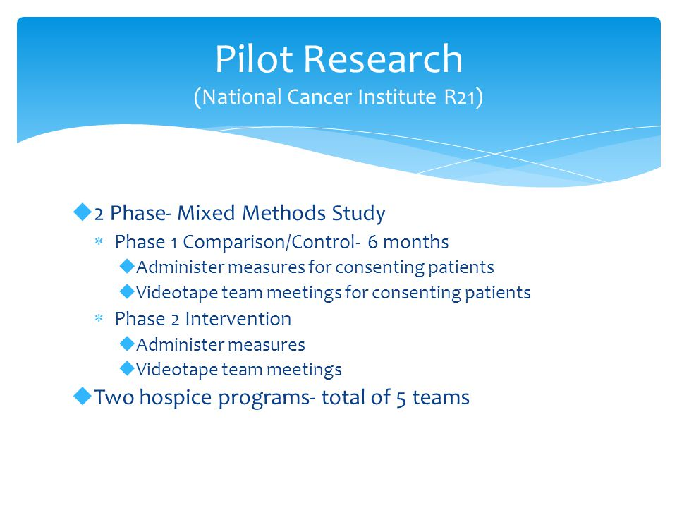 Pilot Research (National Cancer Institute R21)  2 Phase- Mixed Methods Study  Phase 1 Comparison/Control- 6 months  Administer measures for consenting patients  Videotape team meetings for consenting patients  Phase 2 Intervention  Administer measures  Videotape team meetings  Two hospice programs- total of 5 teams