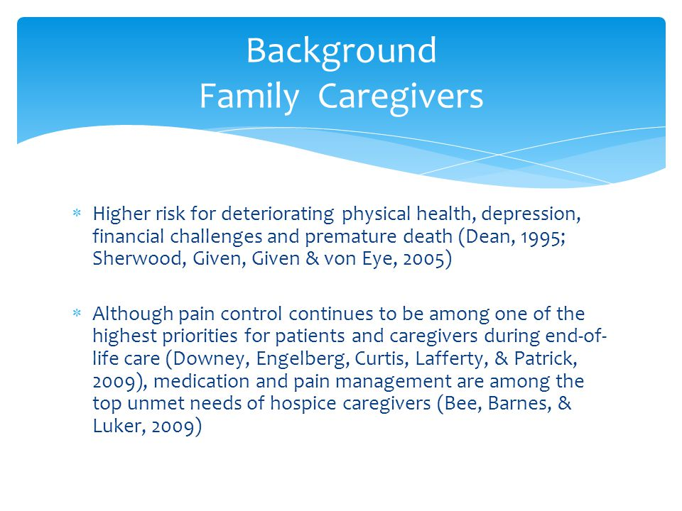  Higher risk for deteriorating physical health, depression, financial challenges and premature death (Dean, 1995; Sherwood, Given, Given & von Eye, 2005)  Although pain control continues to be among one of the highest priorities for patients and caregivers during end-of- life care (Downey, Engelberg, Curtis, Lafferty, & Patrick, 2009), medication and pain management are among the top unmet needs of hospice caregivers (Bee, Barnes, & Luker, 2009) Background Family Caregivers
