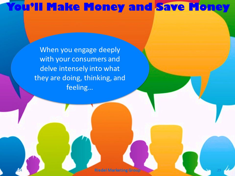 You'll Make Money and Save Money When you engage deeply with your consumers and delve intensely into what they are doing, thinking, and feeling… 2014 Riedel Marketing Group 29