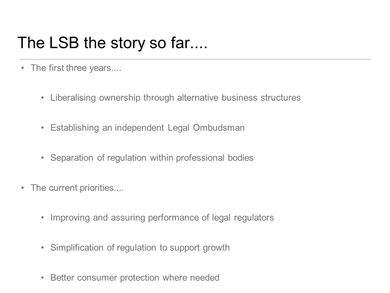The LSB the story so far.... The first three years....