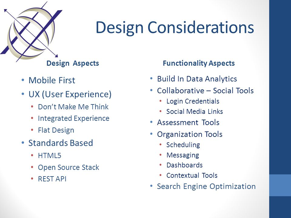 Design Considerations Design Aspects Mobile First UX (User Experience) Don't Make Me Think Integrated Experience Flat Design Standards Based HTML5 Open Source Stack REST API Functionality Aspects Build In Data Analytics Collaborative – Social Tools Login Credentials Social Media Links Assessment Tools Organization Tools Scheduling Messaging Dashboards Contextual Tools Search Engine Optimization