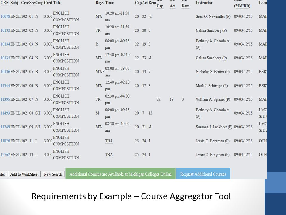Requirements by Example – Course Aggregator Tool