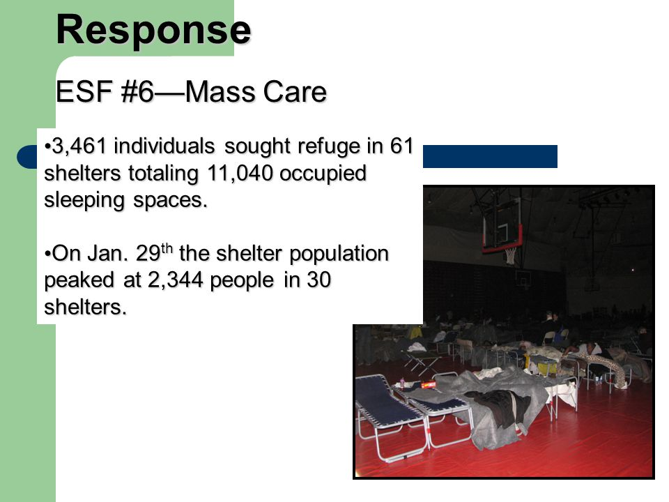 3,461 individuals sought refuge in 61 shelters totaling 11,040 occupied sleeping spaces.