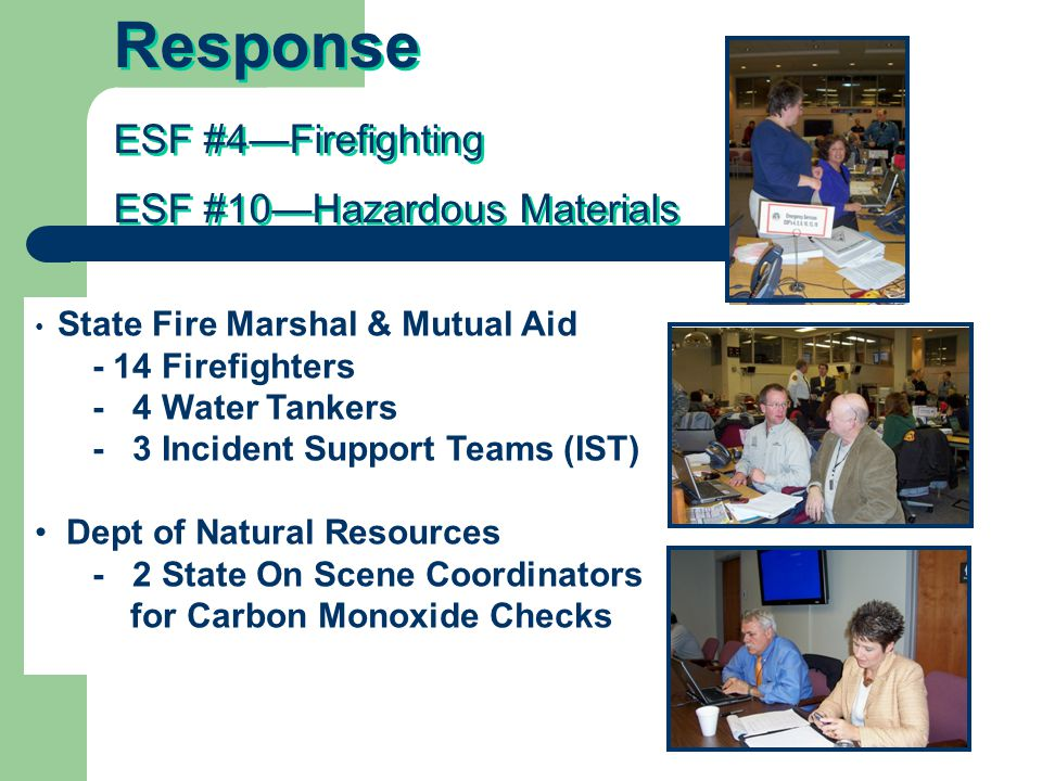 Response ESF #4—Firefighting ESF #10—Hazardous Materials Response ESF #4—Firefighting ESF #10—Hazardous Materials State Fire Marshal & Mutual Aid - 14 Firefighters - 4 Water Tankers - 3 Incident Support Teams (IST) Dept of Natural Resources - 2 State On Scene Coordinators for Carbon Monoxide Checks