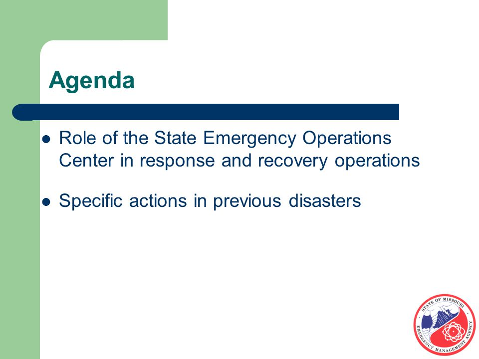 Summary ALL disaster begin and end locally EOC Mission is Situation awareness, resources management, public information, and support of responders in field Subject Matter Experts for ESF(s) maintain visibility of issues in their area providing situational awareness for the Planning and Logistics Sections
