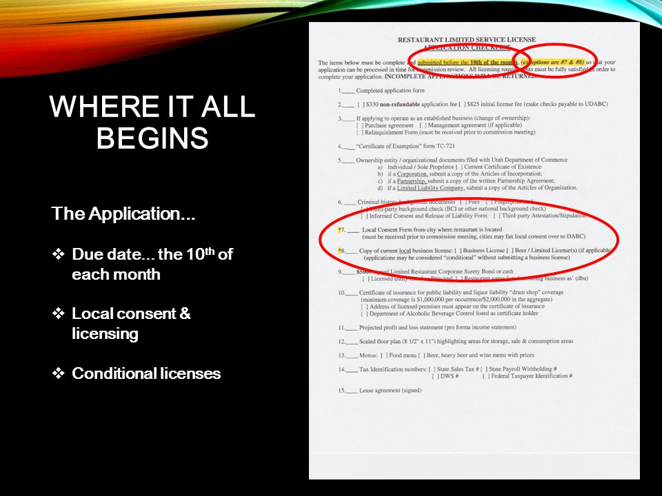WHERE IT ALL BEGINS The Application...  Due date... the 10 th of each month  Local consent & licensing  Conditional licenses