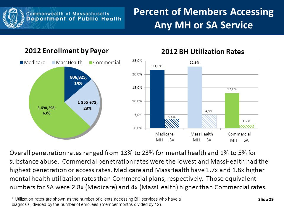 Percent of Members Accessing Any MH or SA Service Slide 29 Overall penetration rates ranged from 13% to 23% for mental health and 1% to 5% for substan