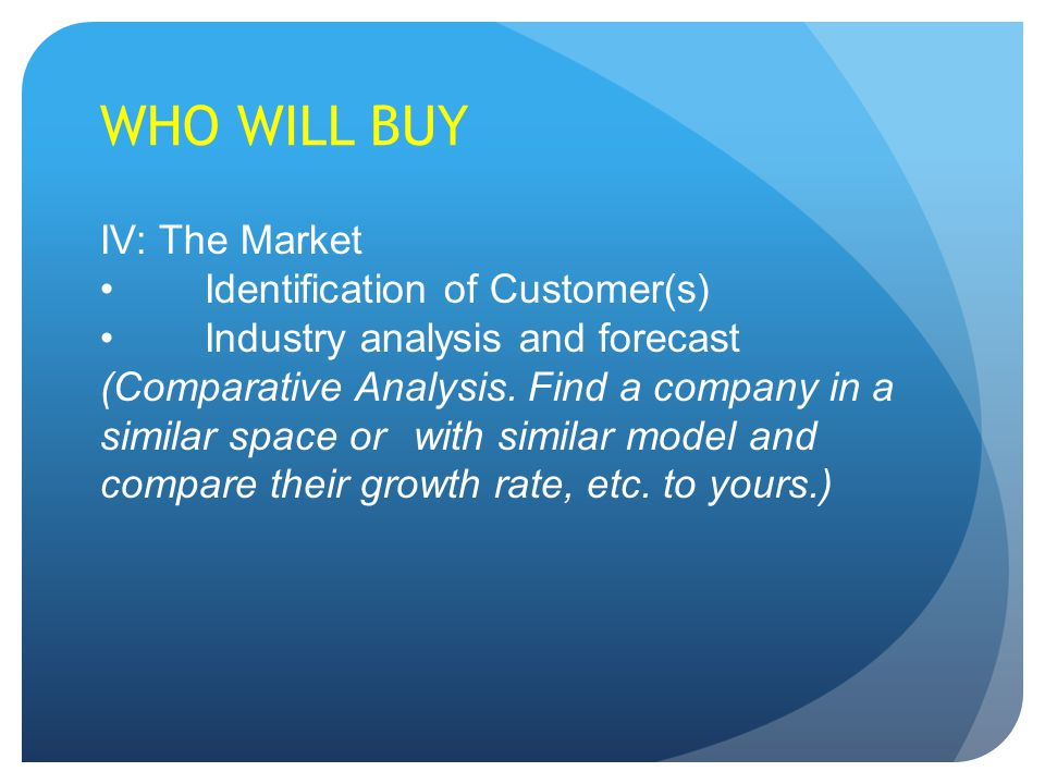 WHO WILL BUY IV: The Market Identification of Customer(s) Industry analysis and forecast (Comparative Analysis.