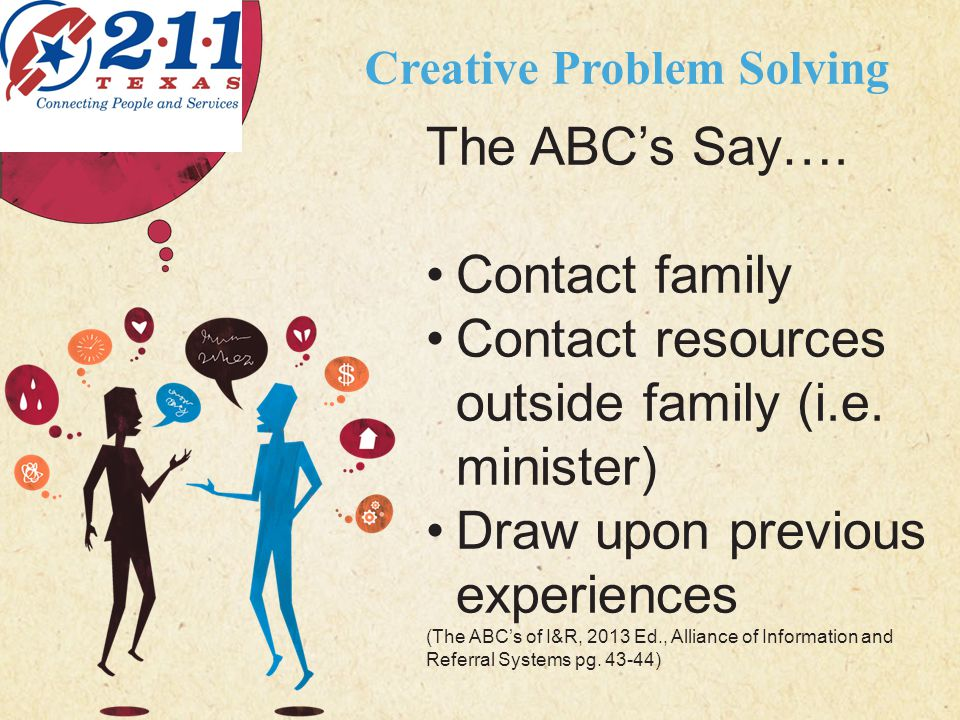 123 West Main Street New York, NY 10001 | www.carecounseling.com | P: 555.123.4568 F: 555.123.4567 Creative Problem Solving CARING COUNSELING CENTER The ABC's Say….