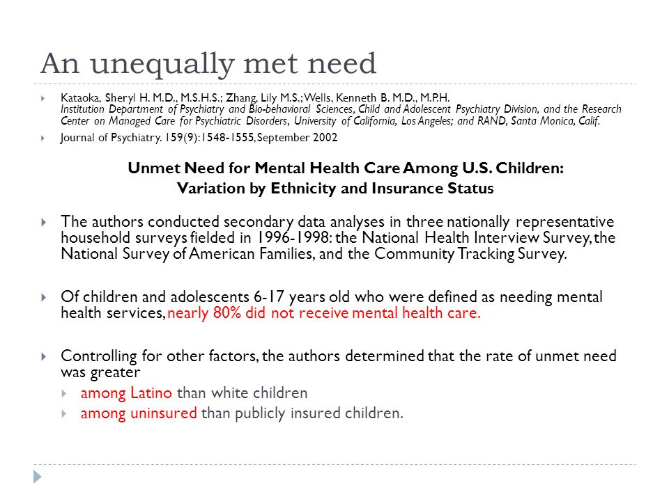 An unequally met need  Kataoka, Sheryl H. M.D., M.S.H.S.; Zhang, Lily M.S.; Wells, Kenneth B.