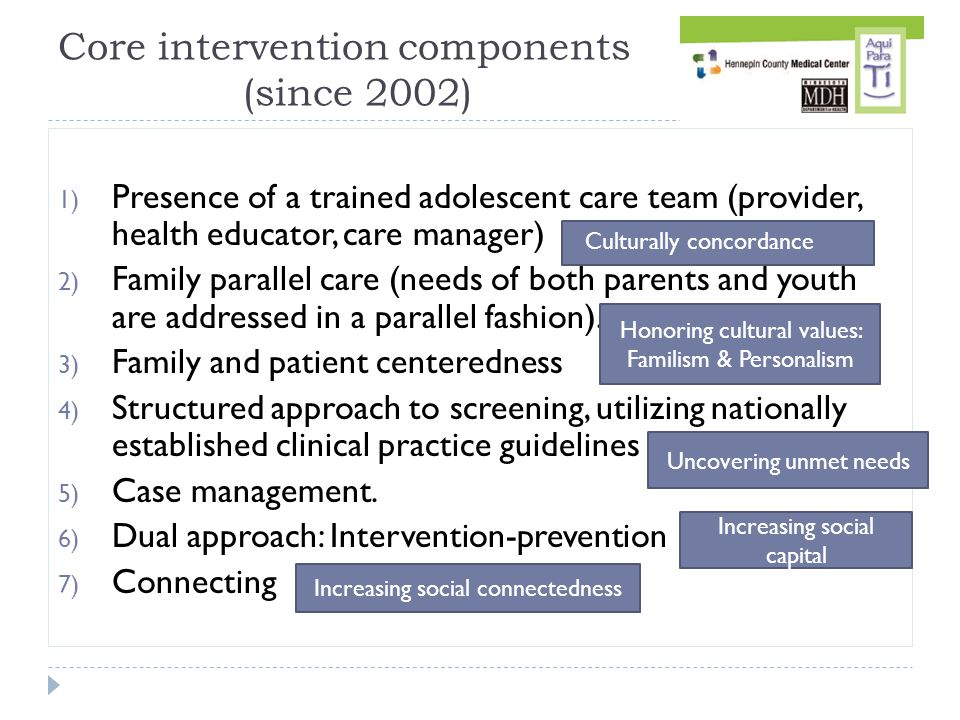 1) Presence of a trained adolescent care team (provider, health educator, care manager) 2) Family parallel care (needs of both parents and youth are addressed in a parallel fashion).