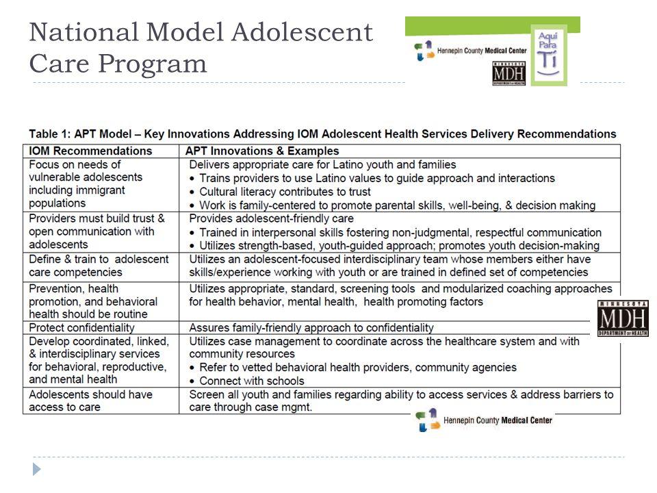 National Model Adolescent Care Program