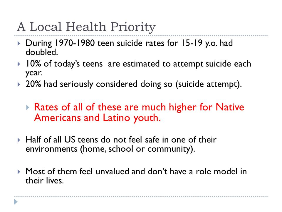 A Local Health Priority  During 1970-1980 teen suicide rates for 15-19 y.o.