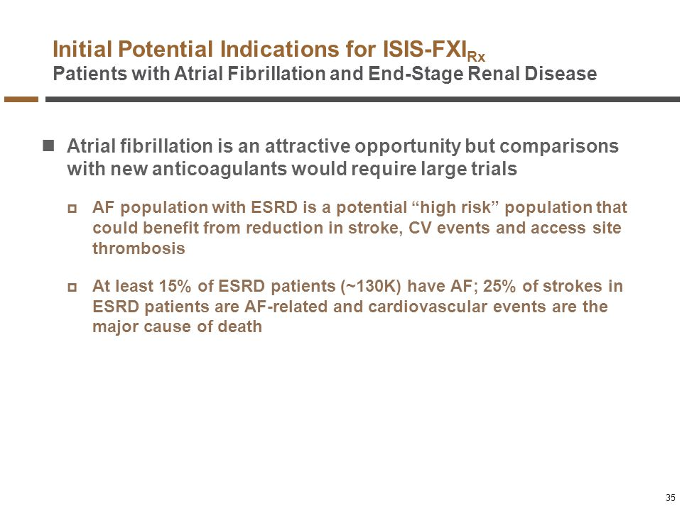 Initial Potential Indications for ISIS-FXI Rx Patients with Atrial Fibrillation and End-Stage Renal Disease Atrial fibrillation is an attractive oppor