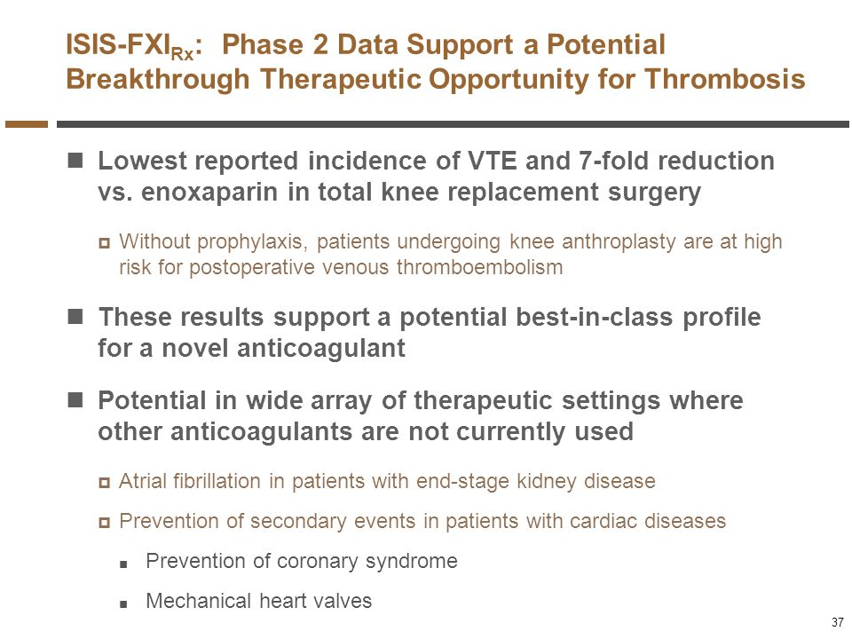 ISIS-FXI Rx : Phase 2 Data Support a Potential Breakthrough Therapeutic Opportunity for Thrombosis Lowest reported incidence of VTE and 7-fold reducti