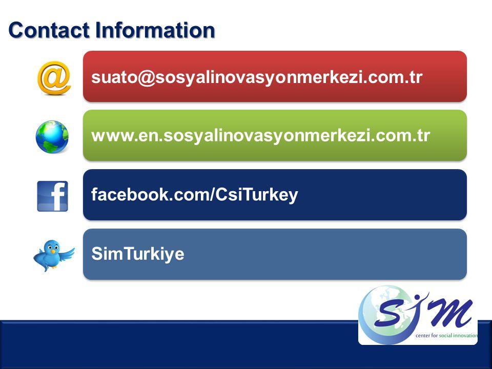 Contact Information suato@sosyalinovasyonmerkezi.com.tr www.en.sosyalinovasyonmerkezi.com.trfacebook.com/CsiTurkeySimTurkiye