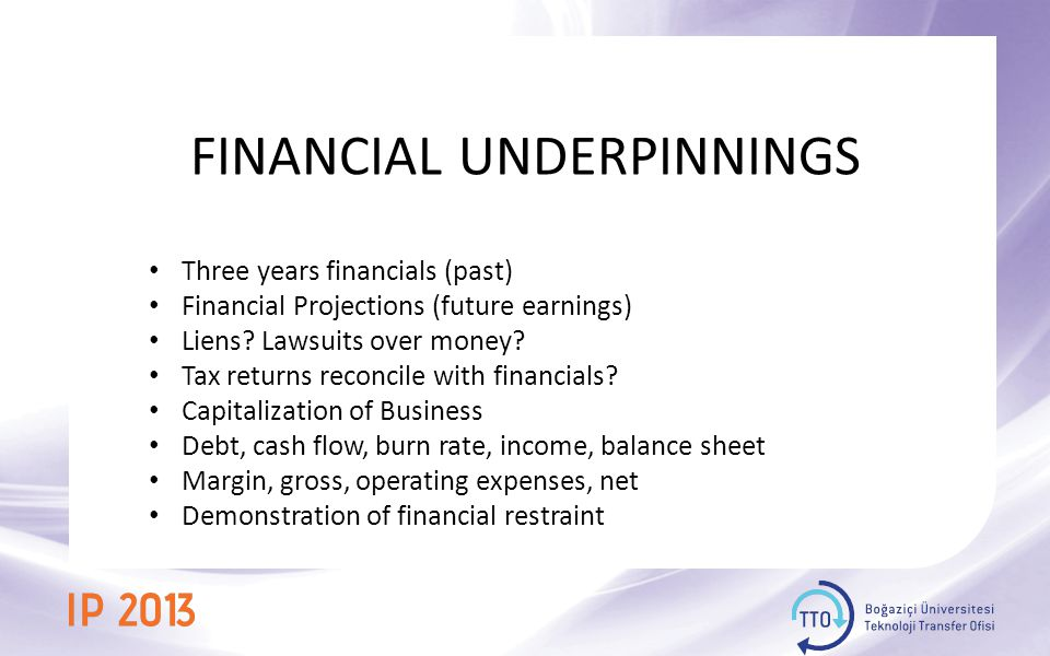 FINANCIAL UNDERPINNINGS Three years financials (past) Financial Projections (future earnings) Liens.