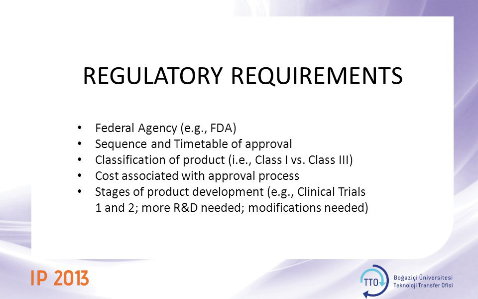 REGULATORY REQUIREMENTS Federal Agency (e.g., FDA) Sequence and Timetable of approval Classification of product (i.e., Class I vs.