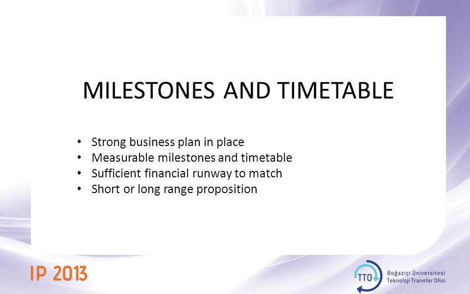 MILESTONES AND TIMETABLE Strong business plan in place Measurable milestones and timetable Sufficient financial runway to match Short or long range proposition