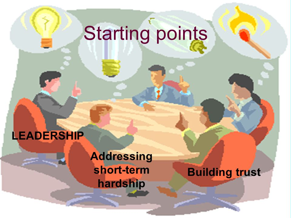 Starting points LEADERSHIP Addressing short-term hardship Building trust