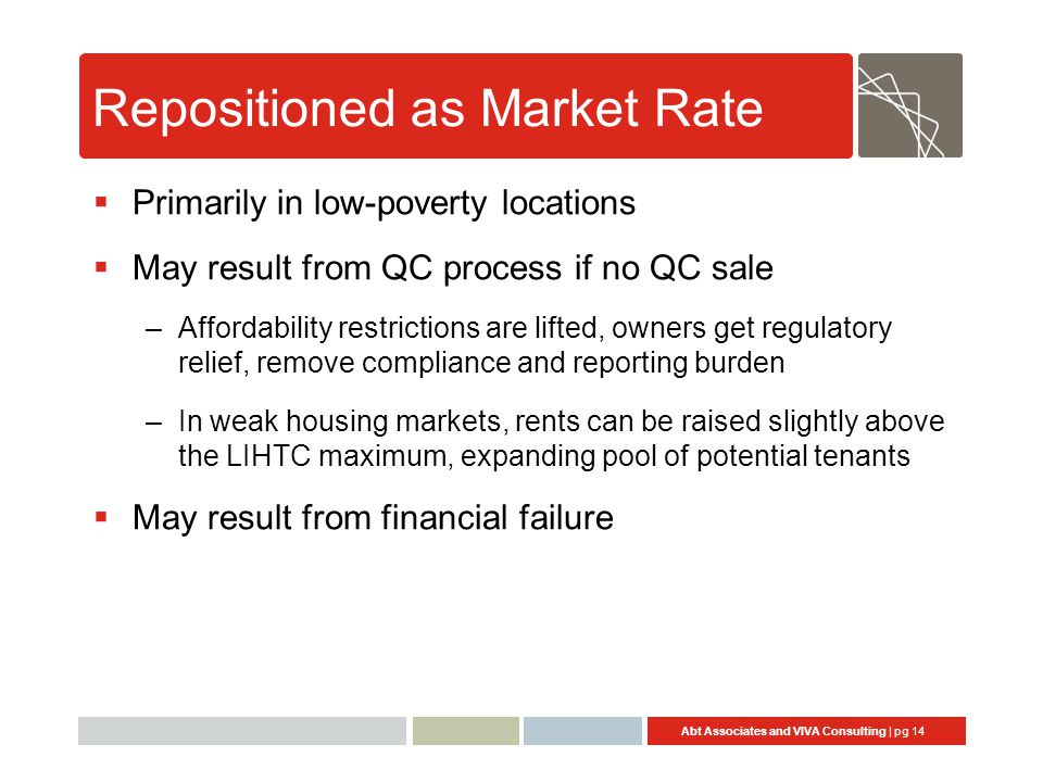 Abt Associates and VIVA Consulting | pg 14 Repositioned as Market Rate  Primarily in low-poverty locations  May result from QC process if no QC sale
