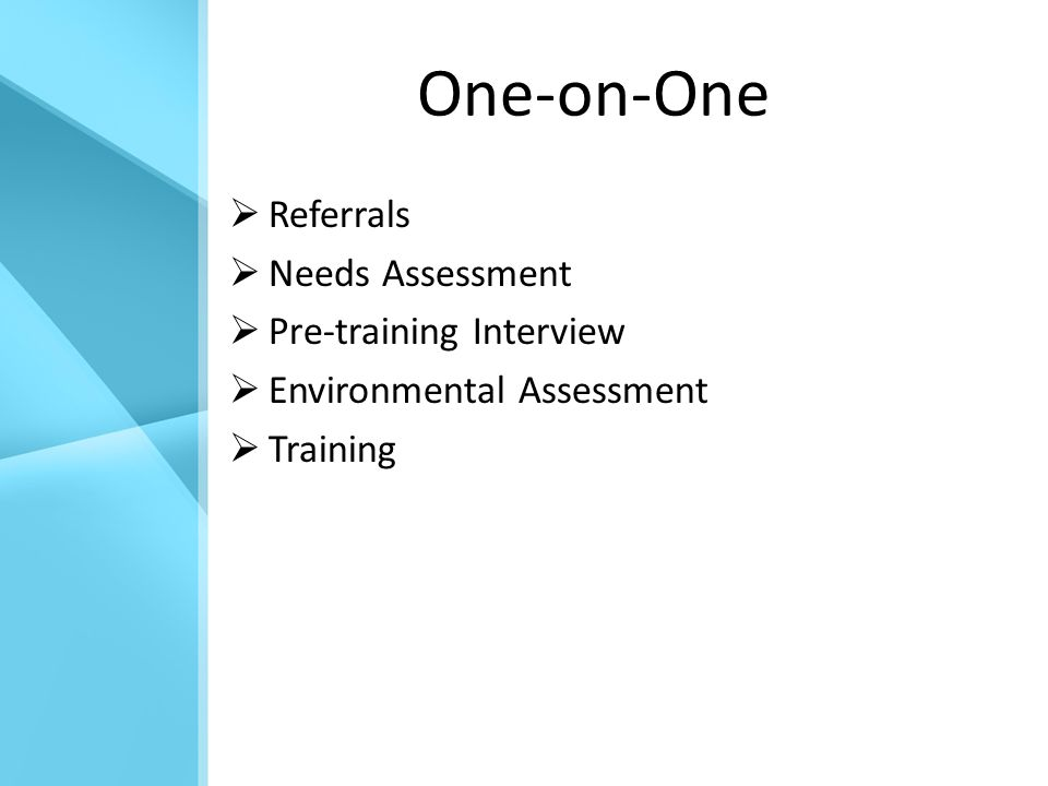 One-on-One  Referrals  Needs Assessment  Pre-training Interview  Environmental Assessment  Training