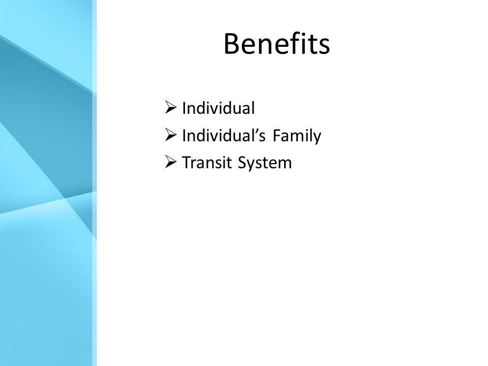 Benefits  Individual  Individual's Family  Transit System