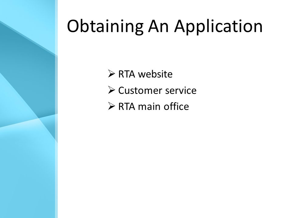 Obtaining An Application  RTA website  Customer service  RTA main office