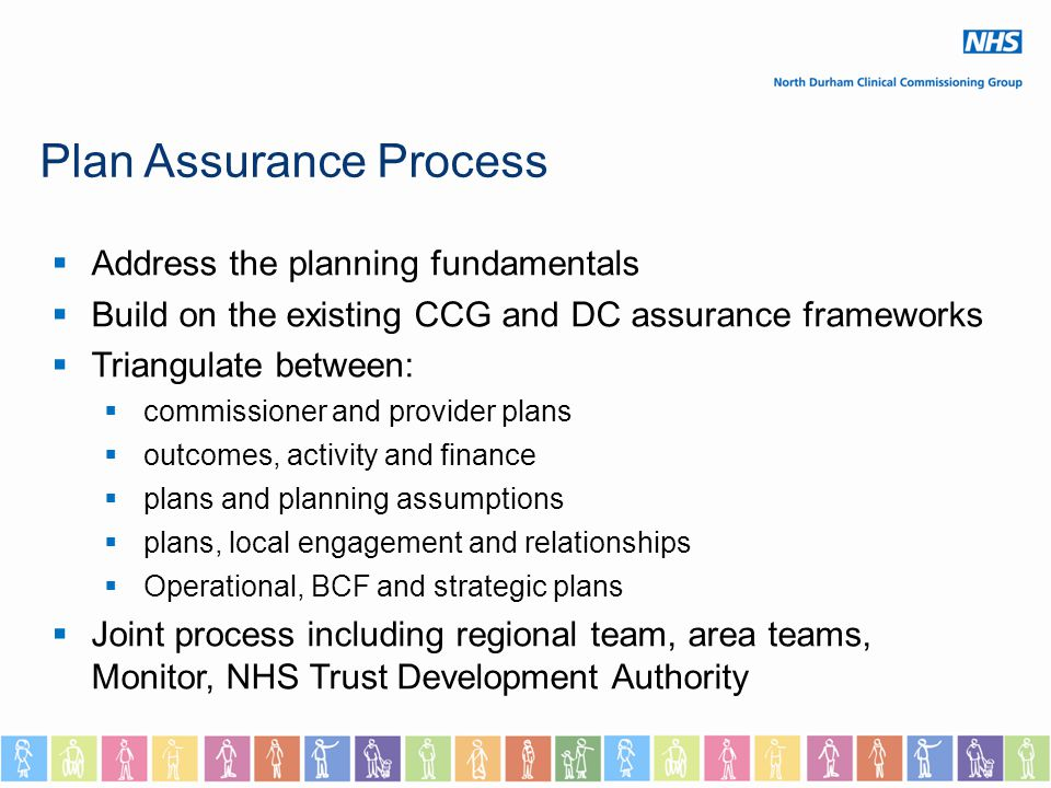 Plan Assurance Process  Address the planning fundamentals  Build on the existing CCG and DC assurance frameworks  Triangulate between:  commissioner and provider plans  outcomes, activity and finance  plans and planning assumptions  plans, local engagement and relationships  Operational, BCF and strategic plans  Joint process including regional team, area teams, Monitor, NHS Trust Development Authority