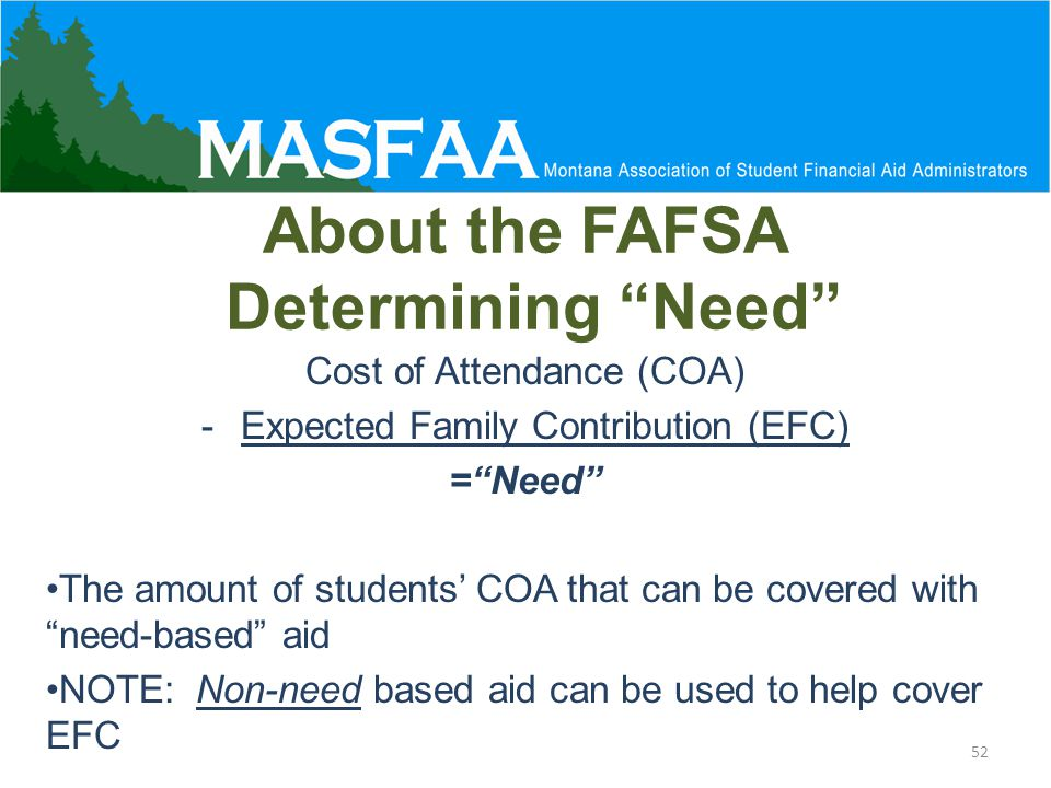 About the FAFSA Determining Need Cost of Attendance (COA) -Expected Family Contribution (EFC) = Need The amount of students' COA that can be covered with need-based aid NOTE: Non-need based aid can be used to help cover EFC 52