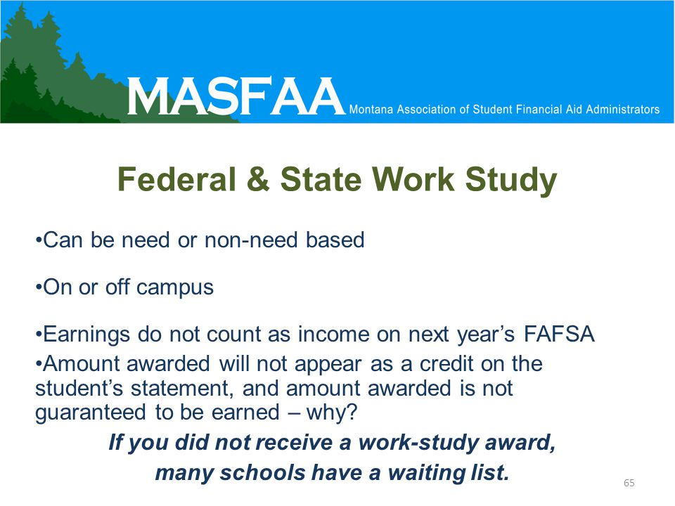 Federal & State Work Study Can be need or non-need based On or off campus Earnings do not count as income on next year's FAFSA Amount awarded will not appear as a credit on the student's statement, and amount awarded is not guaranteed to be earned – why.