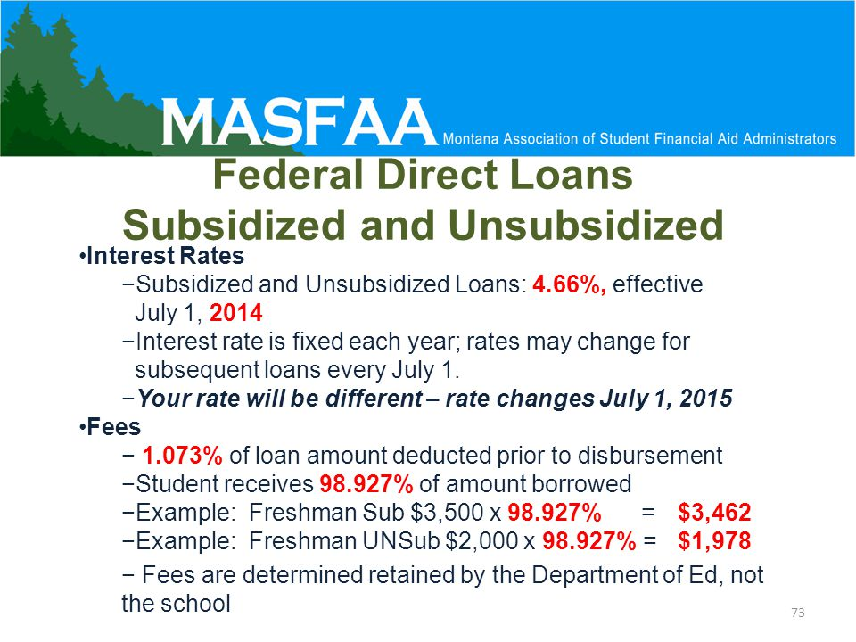 Federal Direct Loans Subsidized and Unsubsidized Interest Rates −Subsidized and Unsubsidized Loans: 4.66%, effective July 1, 2014 −Interest rate is fixed each year; rates may change for subsequent loans every July 1.