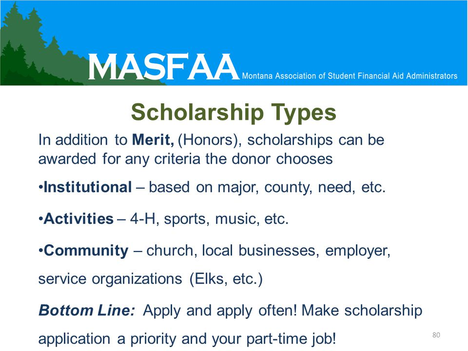 In addition to Merit, (Honors), scholarships can be awarded for any criteria the donor chooses Institutional – based on major, county, need, etc.