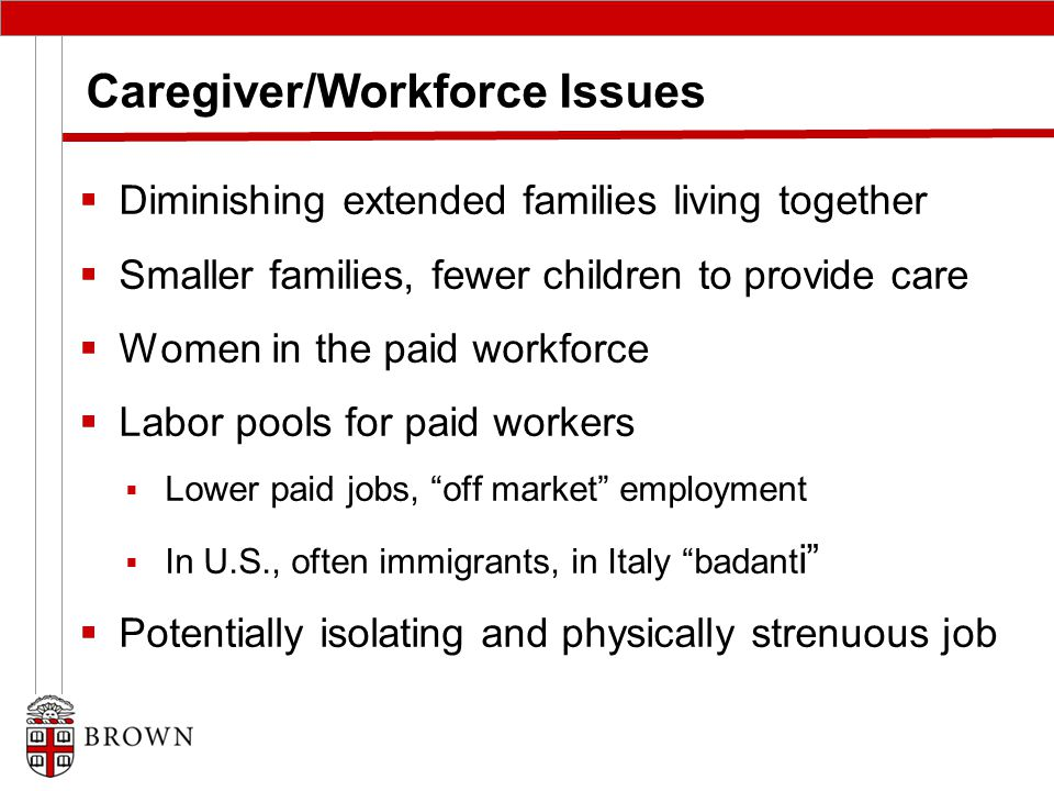 Caregiver/Workforce Issues  Diminishing extended families living together  Smaller families, fewer children to provide care  Women in the paid workforce  Labor pools for paid workers  Lower paid jobs, off market employment  In U.S., often immigrants, in Italy badant i  Potentially isolating and physically strenuous job